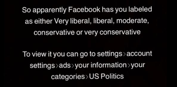 political categories on Facebook